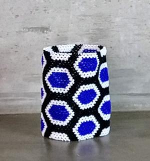 Pulseira Indigena Kayapo - branca, azul e preta